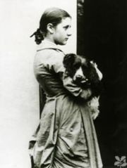 Beatrix Potter at fifteen years with her dog Spot