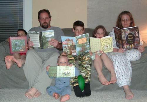 Beard Family reading all our books