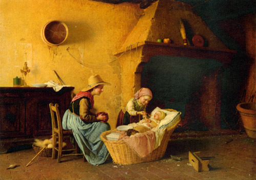 Chierici_Gaetano_Feeding_the_Baby_1870_Oil_On_Canvas