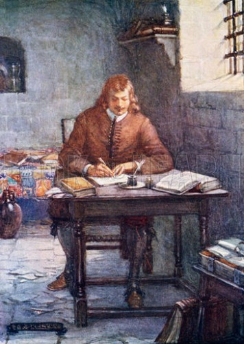 John Bunyan writing Pilgrim's Progress while in prison