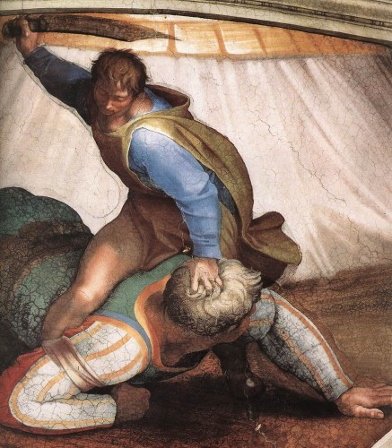 David and Goliath by Michelangelo, on the Sistine Chapel ceiling