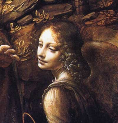 Leonardo da Vinci detail from Madonna of the Rocks